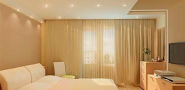 Матовый натяжной потолок в спальной