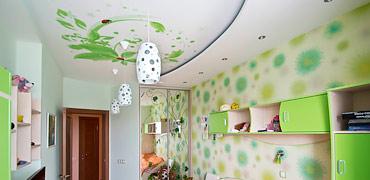 Тканевый натяжной потолок в детской